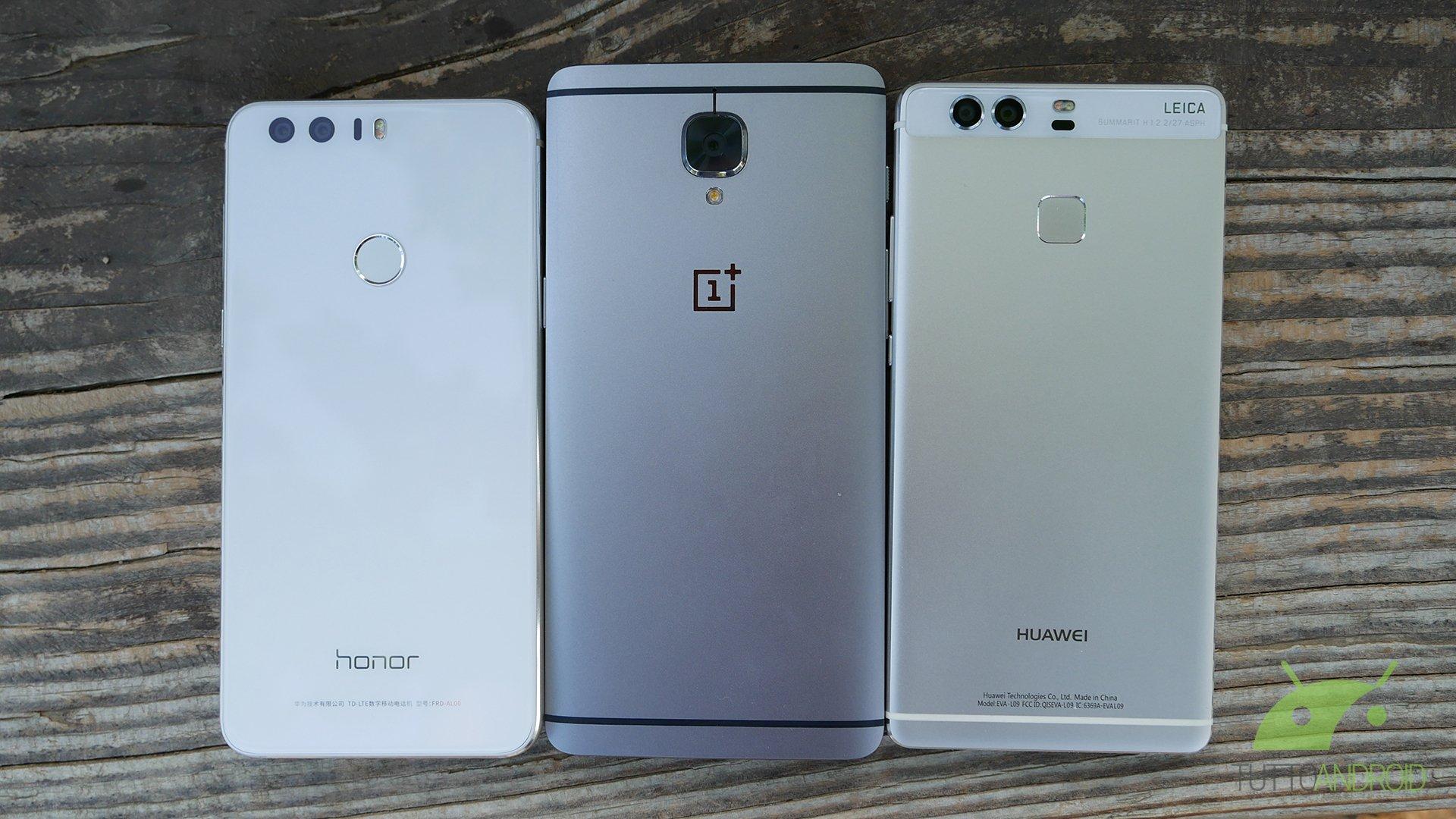 Honor 8 vs OnePlus 3 vs Huawei P9: il nostro confronto