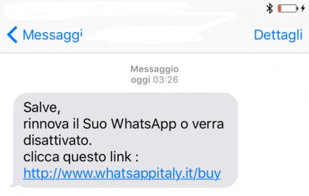Truffa WhatsApp rinnovo
