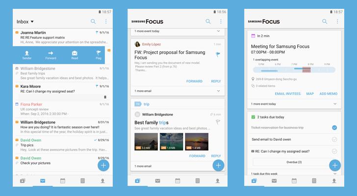Samsung Focus: la nuova app per la produttività che somiglia a BlackBerry Hub