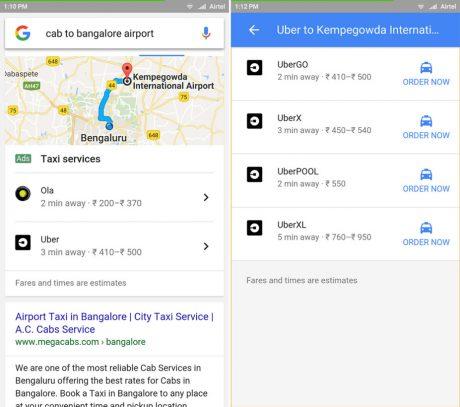 Google cab search results screenshots
