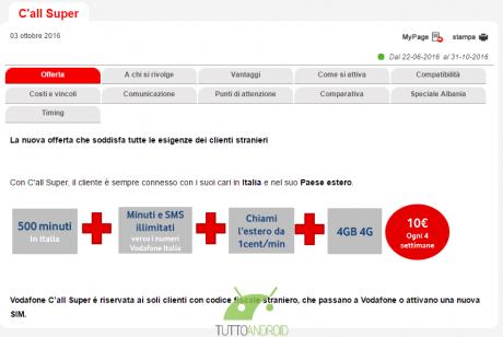 Vodafone internationalk TA