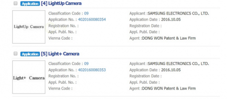 Galaxy s8 dual camera trademark