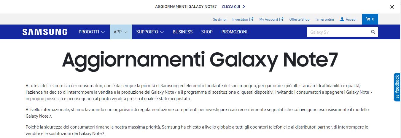 Samsung Italia chiarisce la situazione per il mercato italiano riguardo a Galaxy Note 7