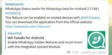 WhatsApp Status presto disponibile nella versione beta, subito per