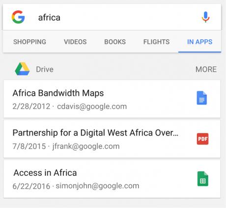 Drive ricerca nelle app