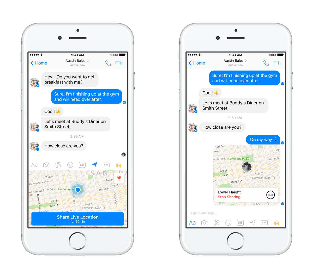 Con Facebook Messenger ora puoi condividere la tua posizione in tempo reale