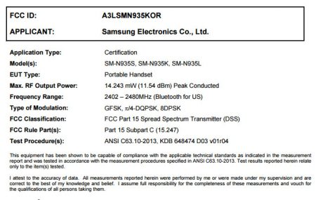 Samsung Galaxy Note 7rfcc