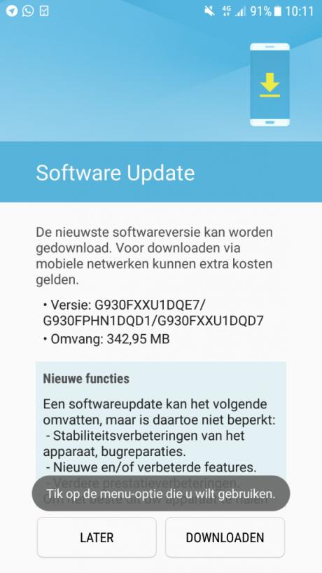 Galaxy s7 aggiornamento patch