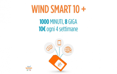 Wind Smart 10+ disponibile su Amazon: 1000 minuti e 8 GB a 10€ ogni 4 settimane