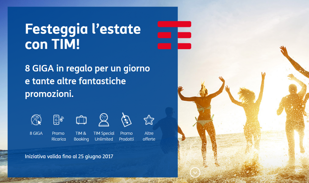 TIM Regalo 8 GB per 1 giorno in occasione del solstizio d'estate
