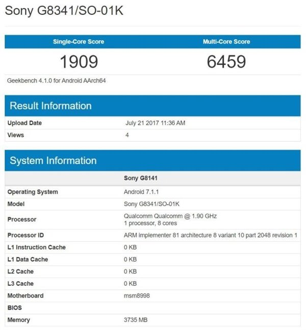 Sony Xperia XZ1 - Geekbench conferma la presenza di uno Snapdragon 835