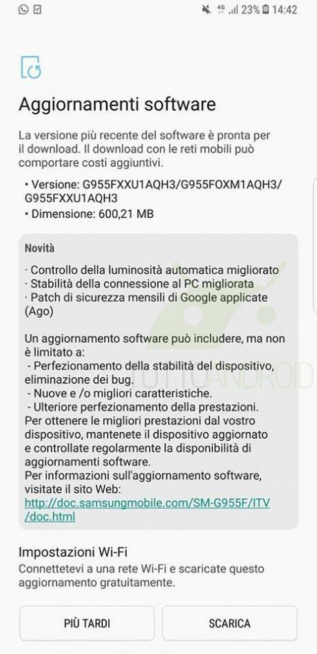 Samsung Galaxy S8 Plus patch agosto