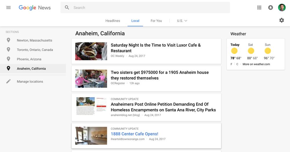 Google News si arricchisce con gli eventi locali