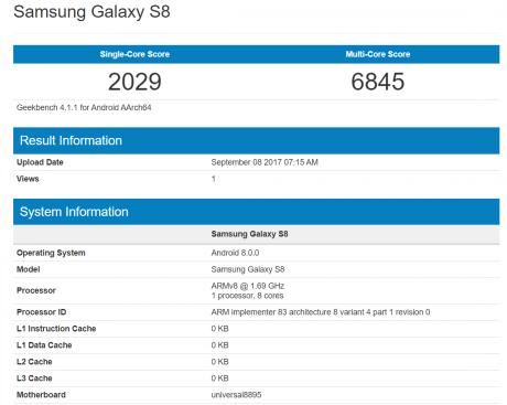 Samsung Galaxy S8 Android 8.0 Oreo Geekbench