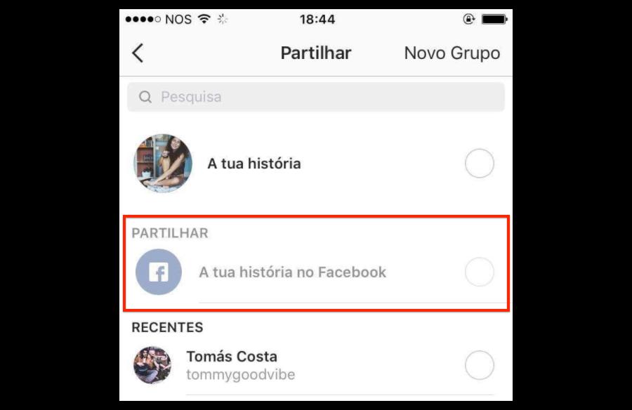 In test una funzione per condividere le storie su Facebook — Instagram