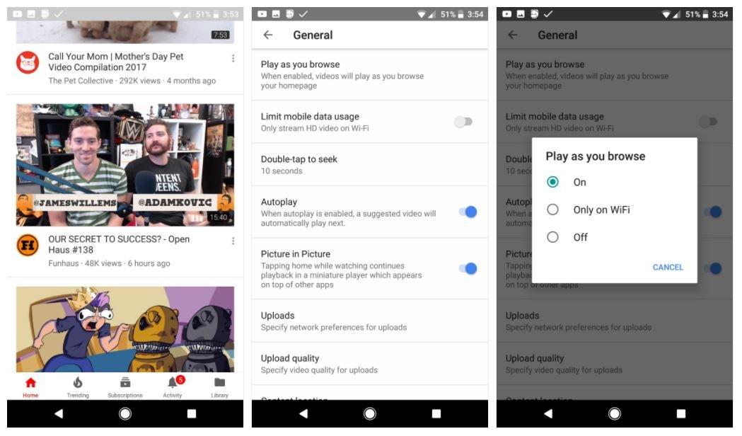 In test la riproduzione automatica dei video nella home — YouTube per Android