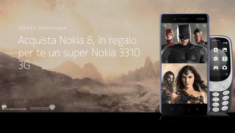 Nokia 8 vi regala Nokia 3310 3G con l'aiuto della Justice League
