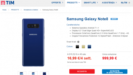 Samsung galaxy note 8 blu tim