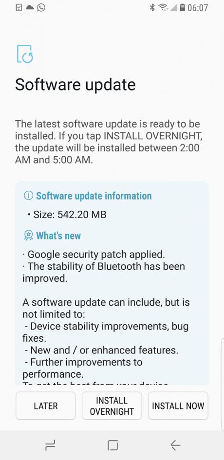 Samsung Galaxy S8 patch dicembre EU