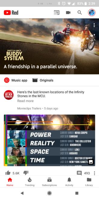 YouTube nav bar bianca