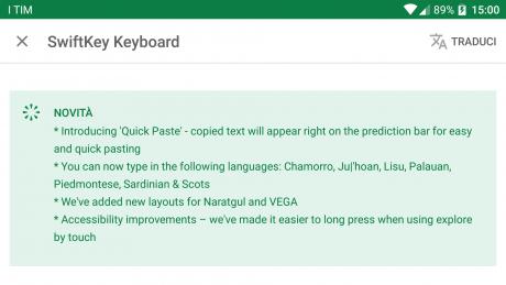 Aggiornamento swiftkey keyboard quick paste dialetti