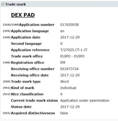 Samsung galaxy s9 dex pad trademark 1