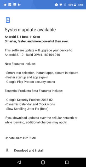 Essential Phone Android 8.1 beta