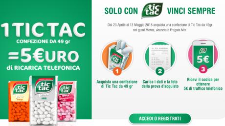 Fino al 13 maggio un pacchetto di Tic Tac vale una ricarica