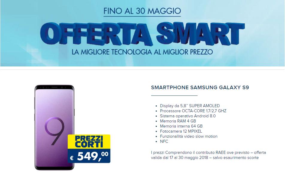 """Samsung Galaxy S9 è in """"Offerta smart"""" da Esselunga: fino al 30 maggio a 549 euro"""