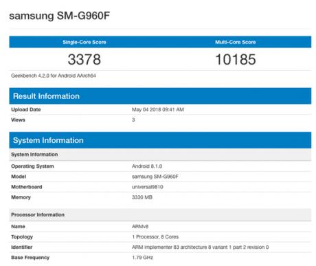 Samsung galaxy s9 android 8.1 oreo