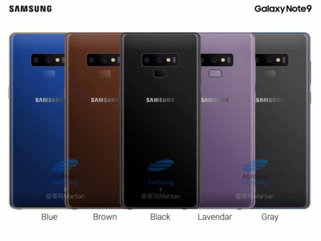 Samsung Galaxy Note 9 render colorazioni