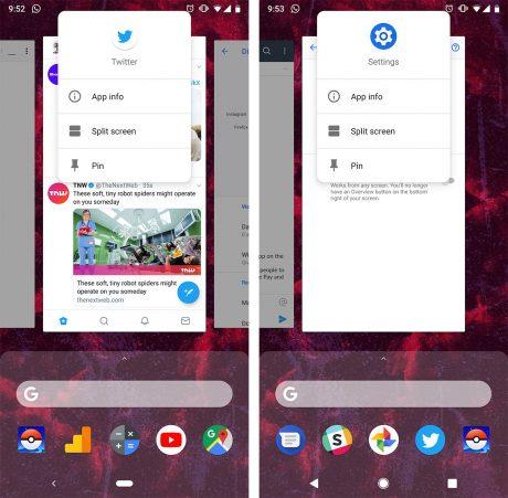 Android 9 Pie split screen 1