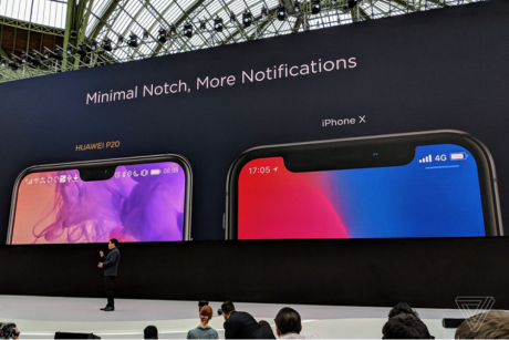 Huawei compares the notch on the P20 to the one on the Apple iPhone X and says smaller is better.jpg