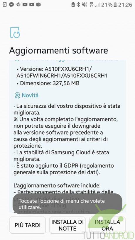 Samsung Galaxy A5 2017 Patch Agosto 2018
