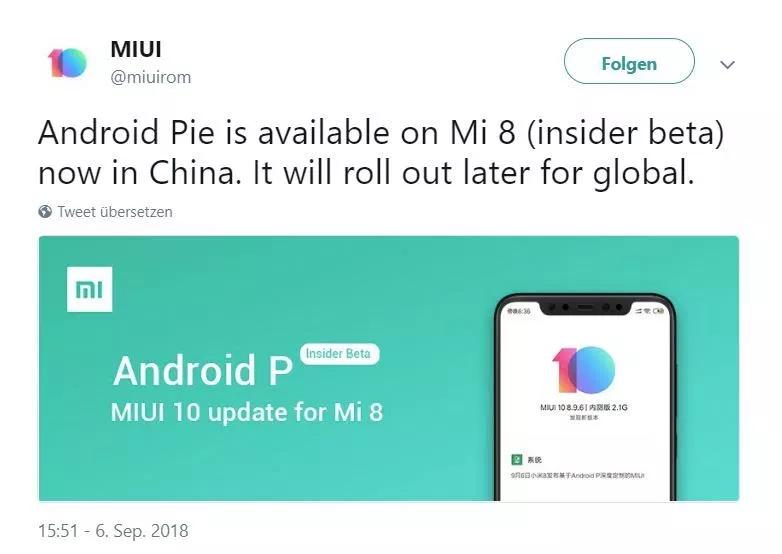 Xiaomi Mi 8 inizia a ricevere Android 9 Pie con MIUI 10