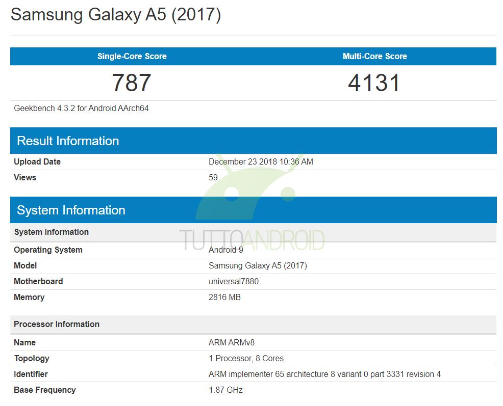 Samsung Galaxy A5 (2017) potrebbe ricevere Android 9 Pie