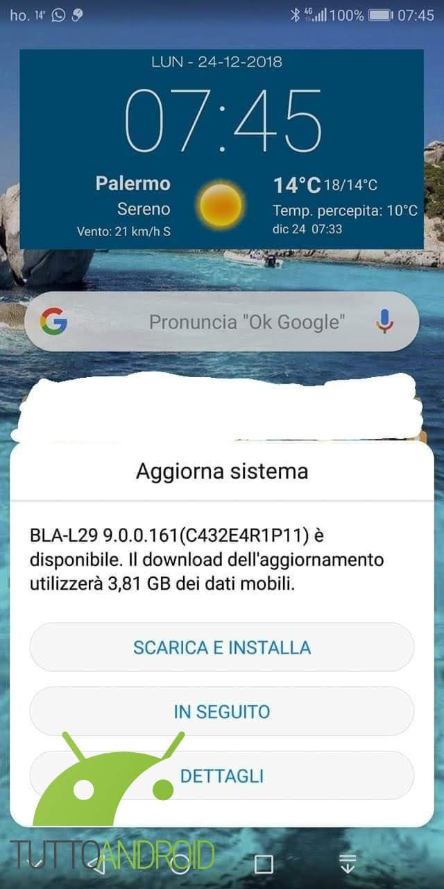 Huawei Mate 10 Pro riceve Android 9 Pie con EMUI 9 in Italia