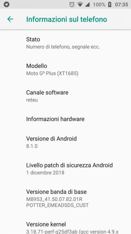 Moto G5s Plus Patch dicembre 2018