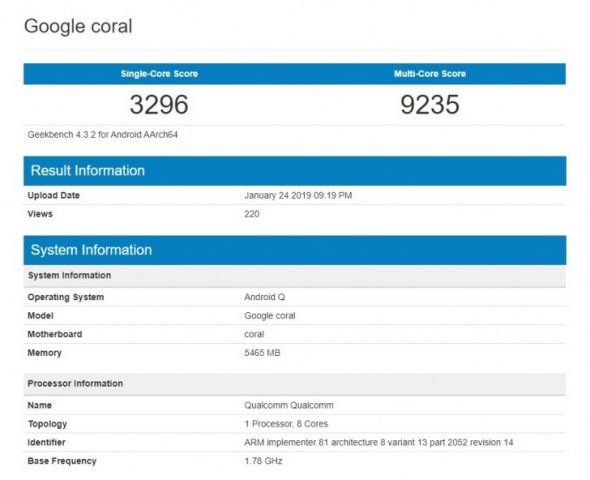 google coral geekbench