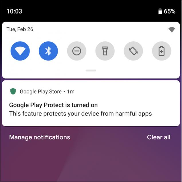 Google Play Protect notifica al primo avvio
