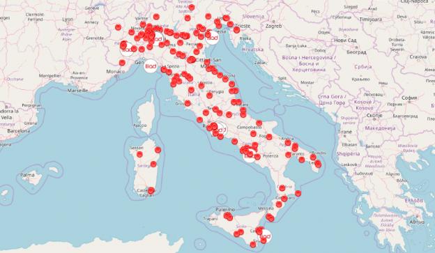 Iliad in Italia mappa