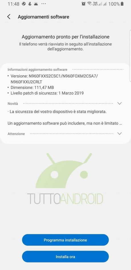 Note 9 patch marzo 2019