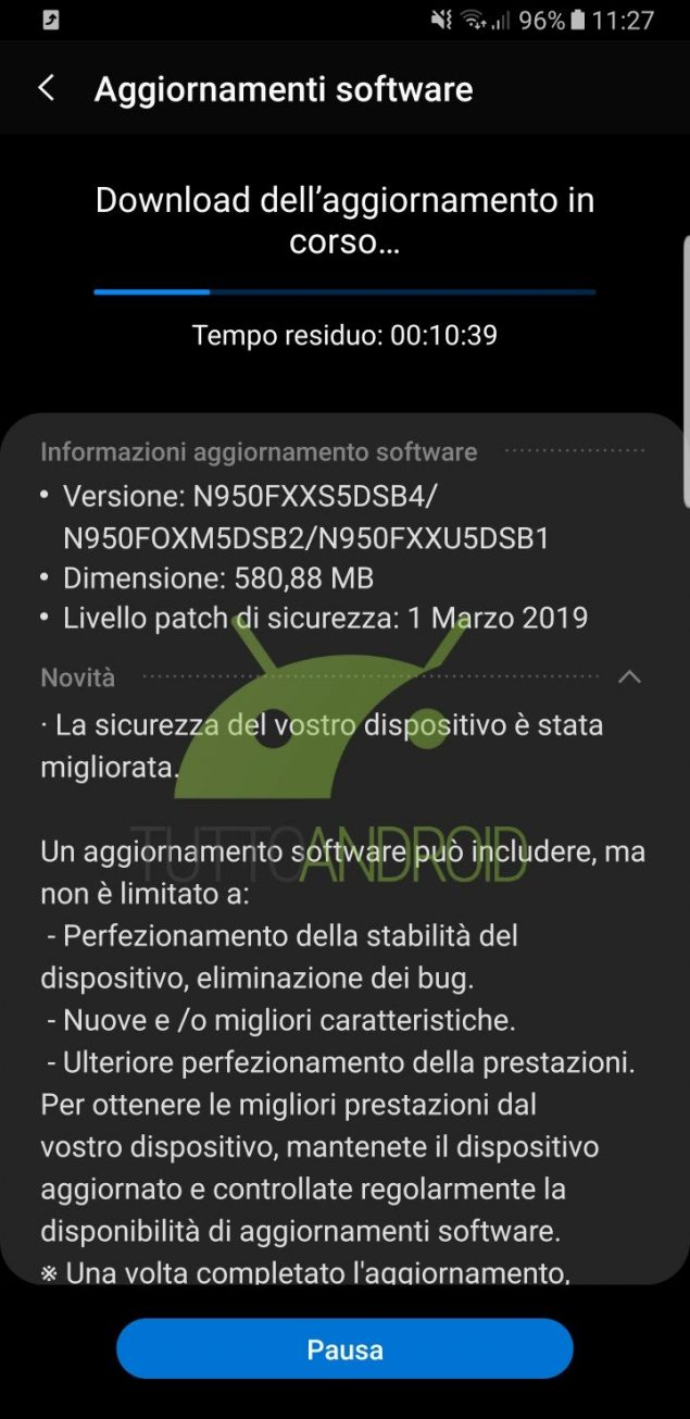 Samsung Galaxy Note 8 - patch di sicurezza marzo 2019