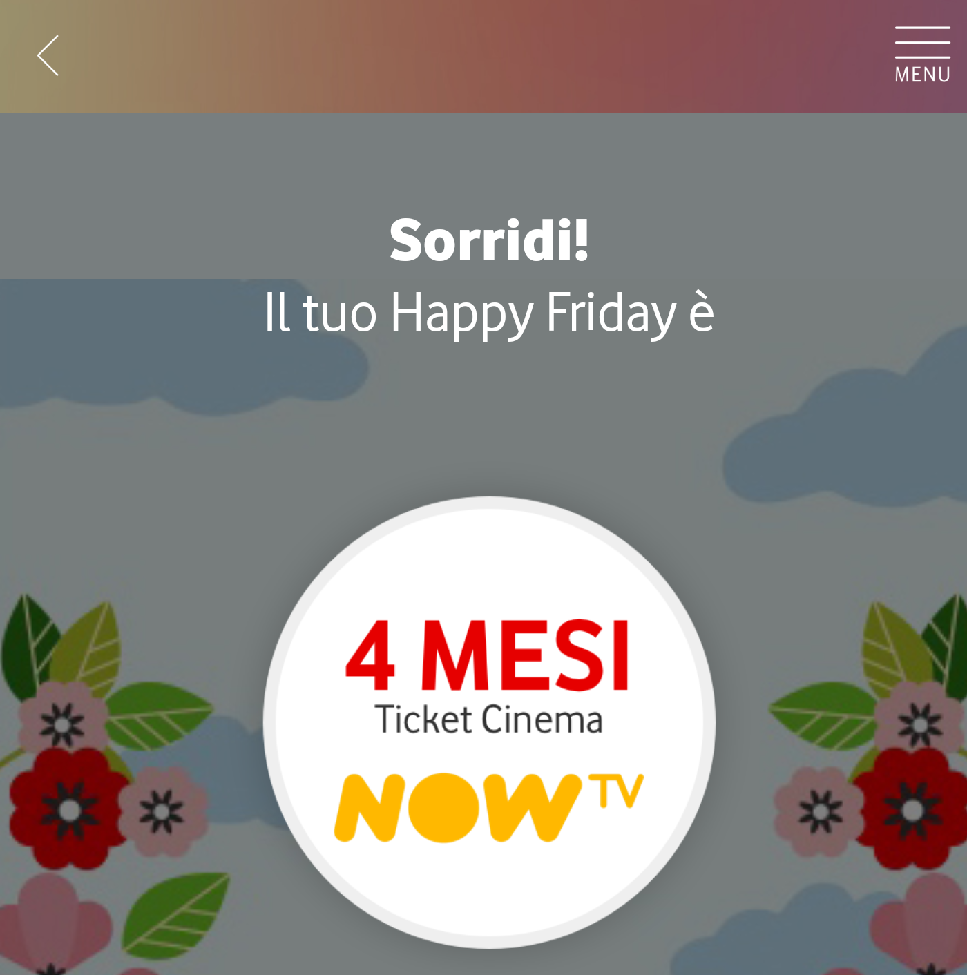 Vodafone Happy, in regalo 4 mesi di Cinema su Now TV