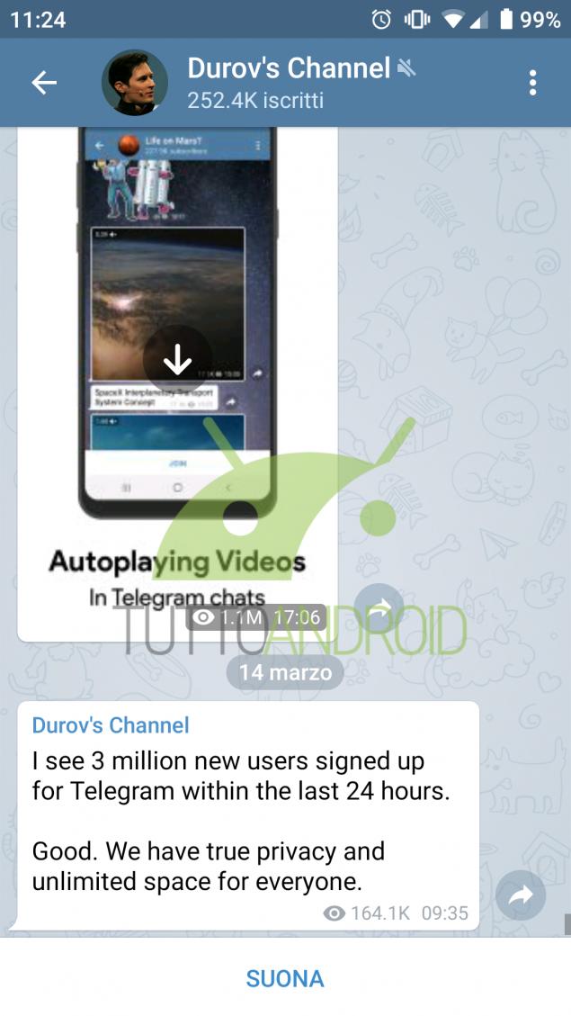 Telegram 3 milioni nuovi utenti