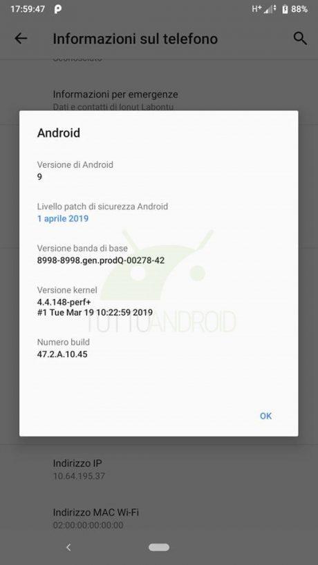 Sony Xperia XZ1 patch aprile 19 1