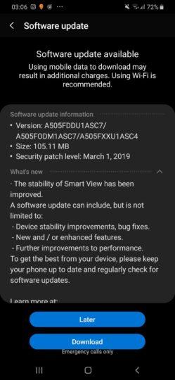 Galaxy a50 software update