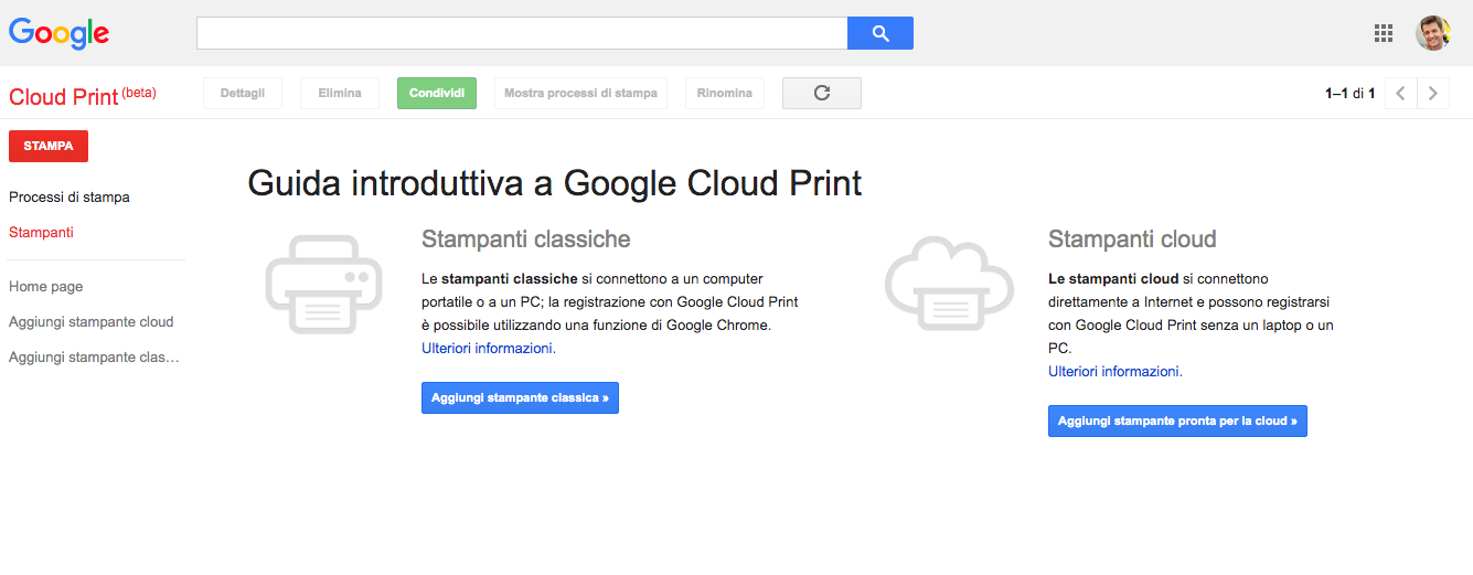 Google Print interfaccia