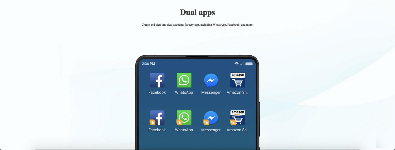 MIUI 10 dual apps