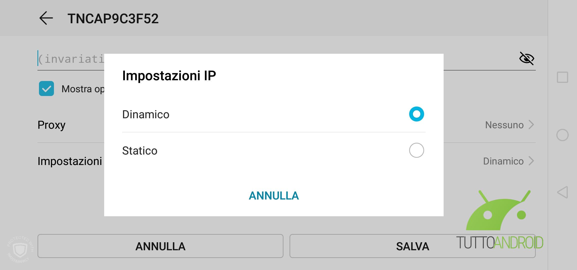 Impostazioni IP Android
